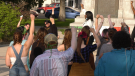 Protesters gather outside Saskatoon City hall