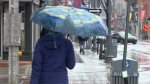 Rain in Ottawa cool temperature jacket umbrella