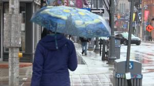 Rain in Ottawa cool temperature jacket umbrella
