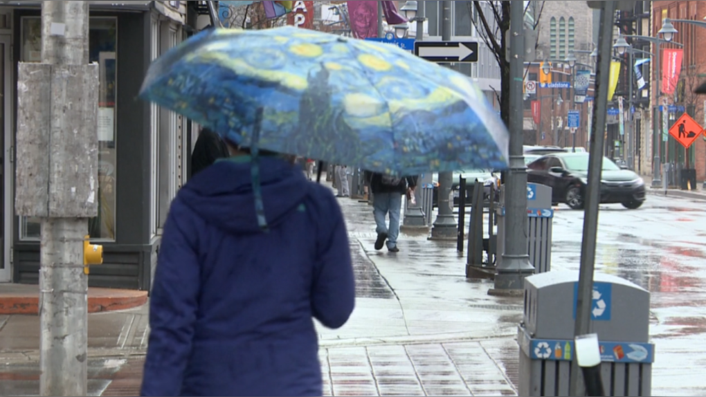 Rain in Ottawa, cool temperature, jacket, umbrella