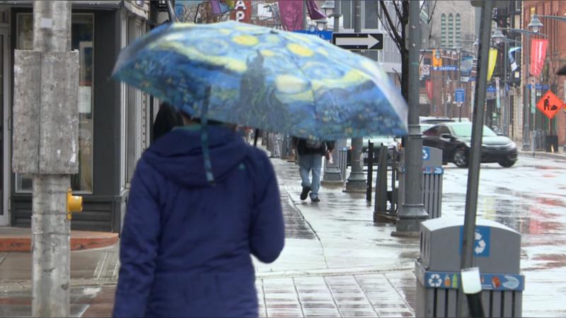 Rain in Ottawa, cool temperature, jacket, umbrella