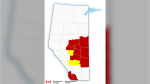 Multiple areas in Alberta are under a wind warning Sunday. (Environment Canada)