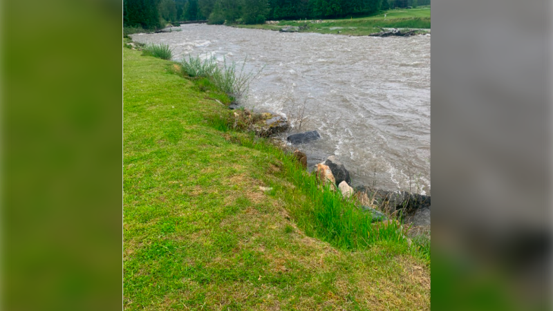 High waters swell Crawford Creek on May 30, 2020, one of many waterways in the Regional District of Central Kootenay at risk of flooding. (Submitted)