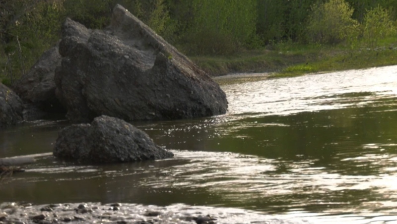 Officials say a 21-year-old man was seriously injured after he fell onto the rocks near the Bow River.