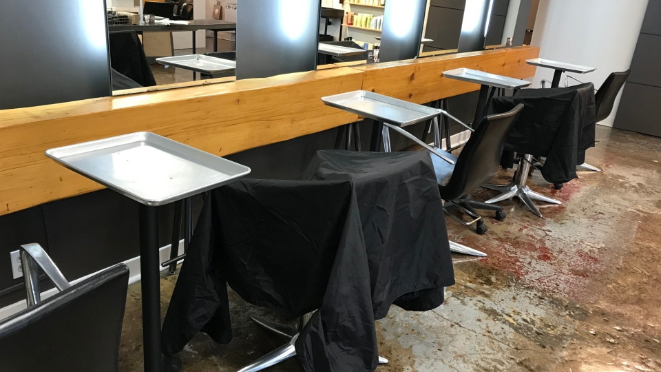 Every second chair at Salon TOK in Gatineau will be unavailable for clients, when the salon opens June 1, to allow for physical distancing. (Leah Larocque / CTV News Ottawa)