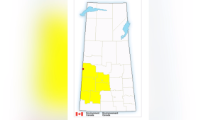 A severe thunderstorm watch has been issued in parts of Western Saskatchewan by Environment Canada.