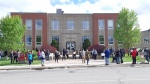 A large group gathered outside Sudbury's courthouse calling for racial justice (Bradford Bourque/CTV Northern Ontario)