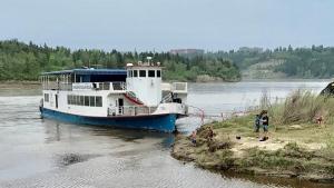 The Edmonton Riverboat is docked at Whitemud Park. (Sean Amato/CTV News Edmonton)