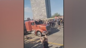 Semi truck goes through crowd in Minneapolis