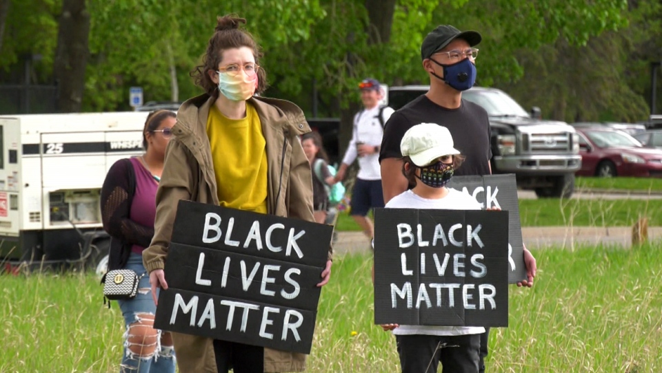 An anti-racism demonstration took place in Fish Creek Provincial Park in Calgary on May 31, 2020