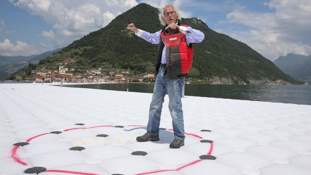 Christo at 'The Floating Piers' in 2016