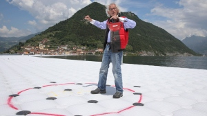 Christo Vladimirov Yavachev, known as Christo, at 'The Floating Piers' on the Lake Iseo, northern Italy, on June 7, 2016. (Luca Bruno / AP)