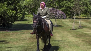The Queen was riding in Home Park, next to Windsor Castle. It was her first public appearance since the coronavirus lockdown began in the U.K. (Steve Parsons/Pool/AFP/Getty Images)