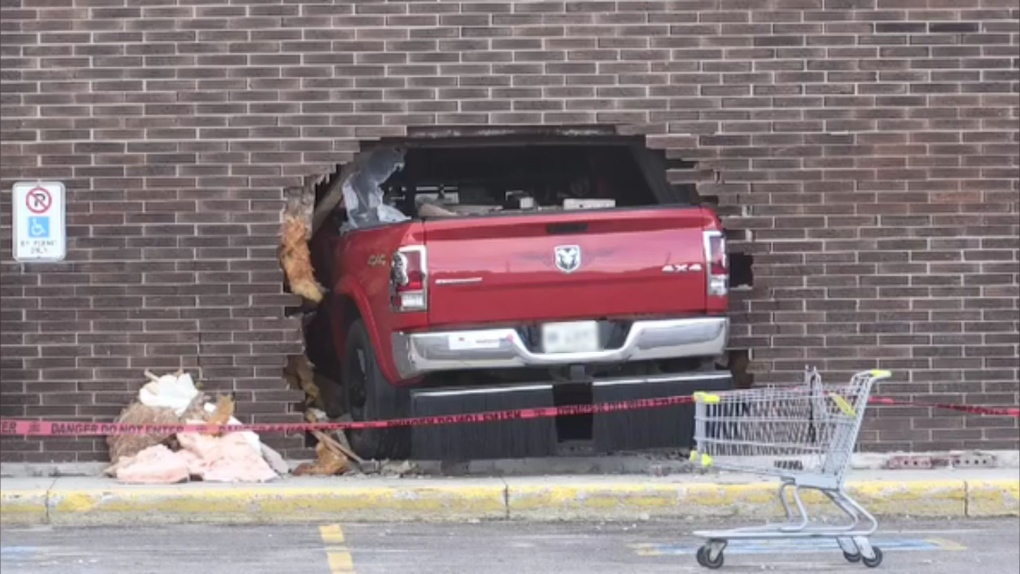 Truck went through brick wall at Porcupine Mall