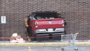Truck went through brick wall at Porcupine Mall in Timmins May 31/20 (CTV Northern Ontario)