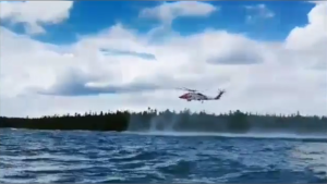 Helicopter rescue of two kayakers in Lake Huron. (OPP North East)