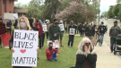 A group of protesters gathered in front of the Sudbury courthouse as a call-to-action for racial equity and justice in Canada and the U.S. May 31/2 (Bradford Bourque/CTV Northern Ontario)