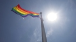 A rainbow flag flies at Toronto City Hall in Toronto on Tuesday, May 31, 2016. Inside Out, which is billed as Canada's largest LGBTQ film festival, has been postponed until October. THE CANADIAN PRESS/Eduardo Lima
