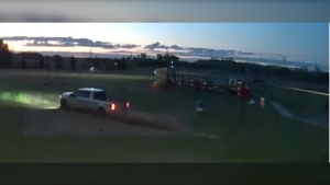 According to RCMP, a silver Ford F-150 was driven onto the Hill Crest Community School yard on Blumenort Road in La Crete, causing damage throughout the property, on May 29, 2020. (Photo provided)