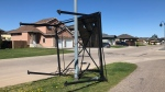 Saskatoon windstorm causes gazebo to be tossed from someone's backyard into the street in the Stonebridge area on June 1, 2020 (Dale Cooper/CTV News Saskatoon)