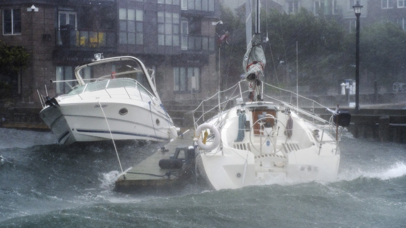In this file photo, boats are pushed along the waterfront in Halifax as hurricane Dorian approaches on Saturday, Sept. 7, 2019. THE CANADIAN PRESS/Andrew Vaughan