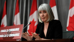 Minister of Health Patty Hajdu speaks during a news conference in West Block on Parliament Hill in Ottawa, on Monday, June 1, 2020. THE CANADIAN PRESS/Justin Tang
