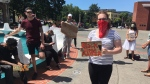 Dozens gathered at Victoria's Centennial Square to take part in a march in support of the Black Lives Matter movement: June 1, 2020 (CTV News)