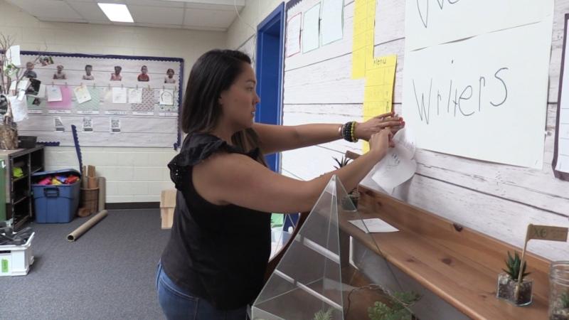 London Ont. Stoneybrook Public School teacher Danielle Braney organizes her classroom on June 1, 2020. (Celine Zadorsky/CTV London)