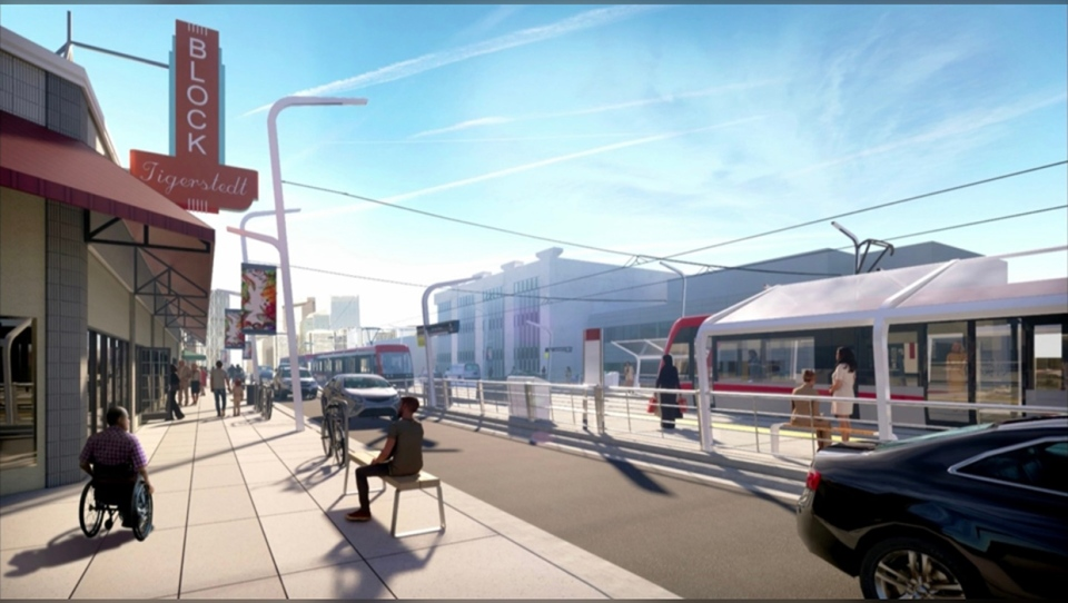 Artist rendering of the Green Line LRT on Centre Street North near Ninth Avenue (City of Calgary)
