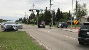 A motorcycle and an SUV were involved in a crash on 50 Street on June 1. (Chris Brinkworth/CTV News Edmonton)