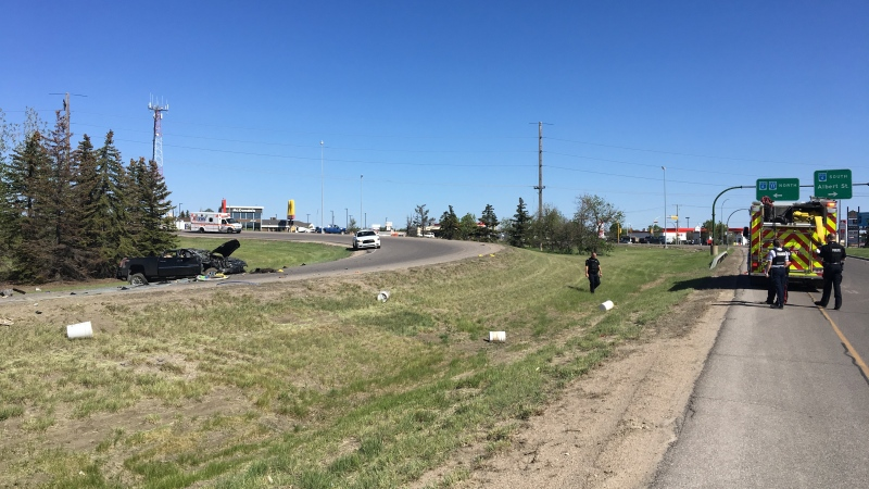 A truck rolled on north Ring Road on June 1, 2020 (Gareth Dillistone / CTV News Regina)