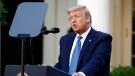 U.S. President Donald Trump speaks in the Rose Garden of the White House, Monday, June 1, 2020, in Washington. (AP Photo/Patrick Semansky)