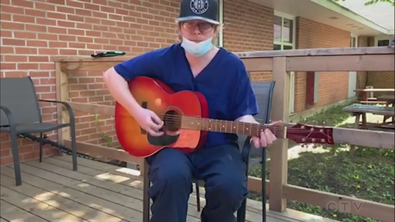 Wikwemikong Nursing Home staff member, Brandon Cudney, sings a Merle Haggard favourite, 'Mama Tried.'
