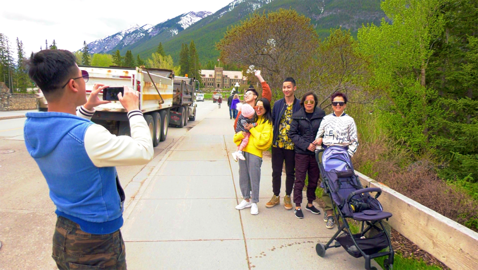 A group of tourists from Canada in the Banff townsite on June 1, 2020.