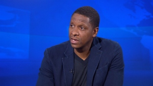 Toronto Raptors president Masai Ujiri speaks during an interview with CTV National News.