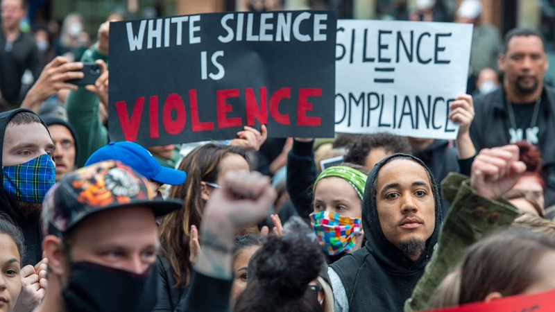 Protesters demonstrate against police action in the death of George Floyd and others in Halifax on Monday, June 1, 2020. Floyd, an unarmed black man, was killed by a white police officer while in police custody in Minneapolis late last month. THE CANADIAN PRESS / Andrew Vaughan