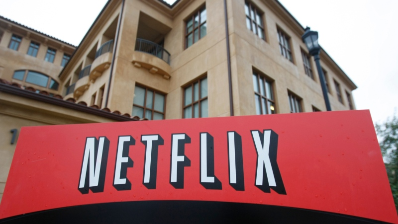 This Jan. 29, 2010, file photo shows the company logo and view of Netflix headquarters in Los Gatos, Calif. (AP Photo/Marcio Jose Sanchez, File)