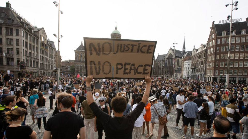 Protest on Dam Square in Amsterdam