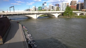 The flow rate and water level of the Bow River in Calgary have increased of late and are expected to increase further over the coming days