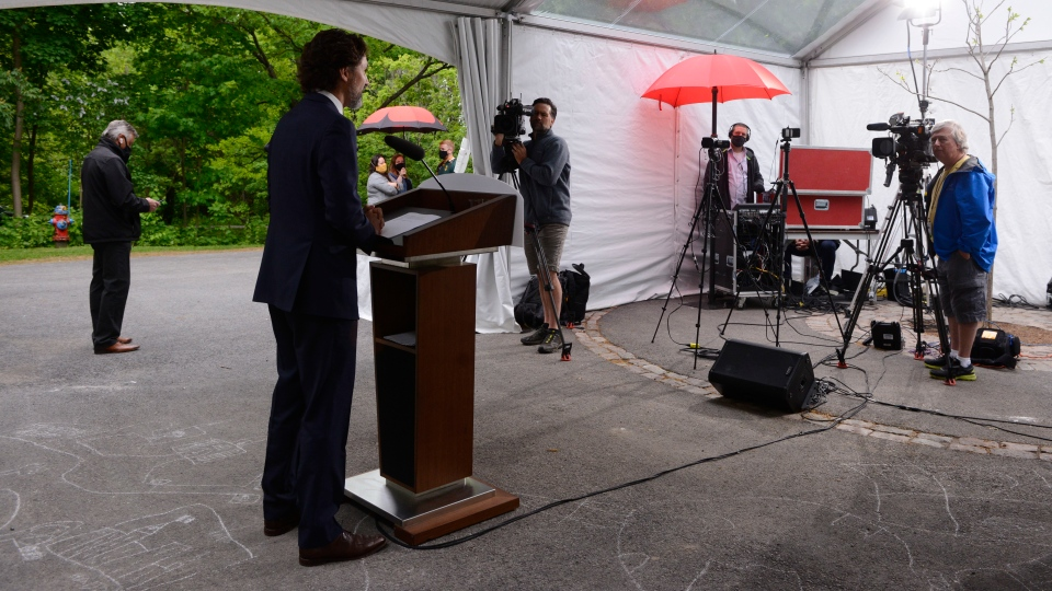 Prime Minister Justin Trudeau holds a press conference at Rideau Cottage during the COVID-19 pandemic in Ottawa on Monday, June 1, 2020. THE CANADIAN PRESS/Sean Kilpatrick