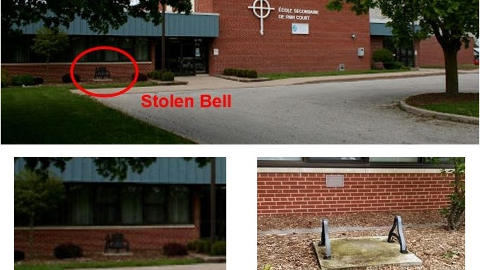 The S.S. #4 Dover School Bell from École Secondaire de Pain Court in Pain Court, Ont. (Courtesy Chatham-Kent police)