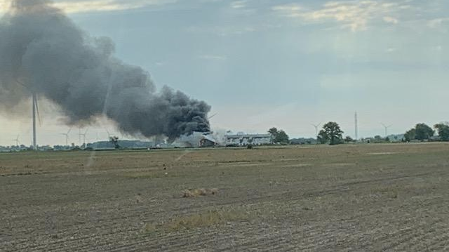 Crews battle a structure fire on Lakeshore Road 243 in Lakeshore, Ont. on June 2, 2020. (Photo courtesy of Bob Gabriele/AM800)
