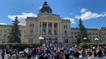 Regina residents gather at the Saskatchewan legislative building in support of Black Lives Matter (Brendan Ellis / CTV News Regina)