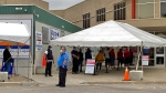 Scarborough residents attend a pop-up assessment centre to get a COVID-19 test onJune 2, 2020. (Kenneth Enlow/ CTV News Toronto)
