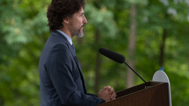 Prime Minister Justin Trudeau pauses before responding to a question on racism in the United States during a news conference outside Rideau Cottage in Ottawa, Tuesday June 2, 2020. THE CANADIAN PRESS/Adrian Wyld