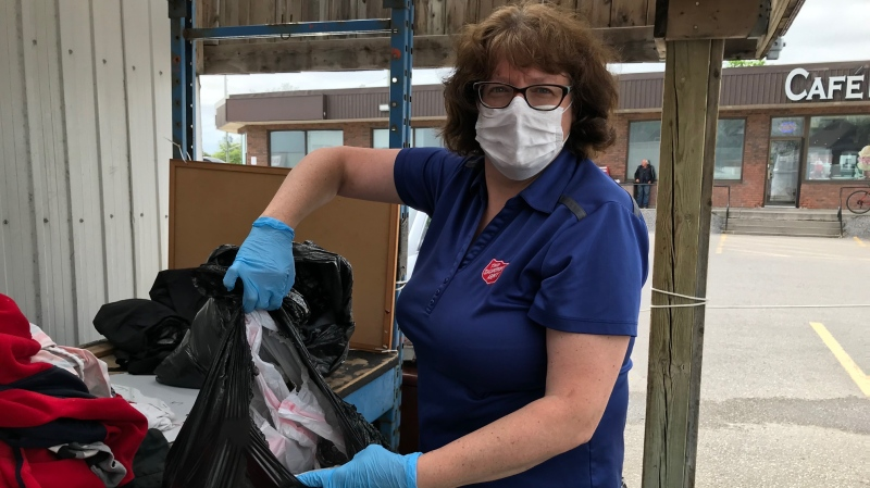 Staff at the Salvation Army in Barrie continue to find household garbage, including dirty diapers, in their donation bins, even though the store is closed. Tues., June 2, 2020. (Rob Cooper/CTV News)