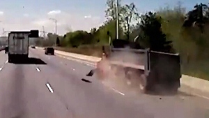 Dashcam video shows tire flying off truck
