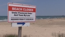 Sauble Beach closed sign on June 2, 2020. (Scott Miller/CTV London)