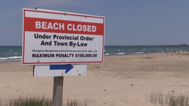 Sauble Beach closed sign
