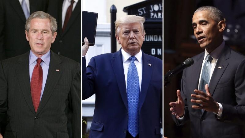Trump, Bush, Obama